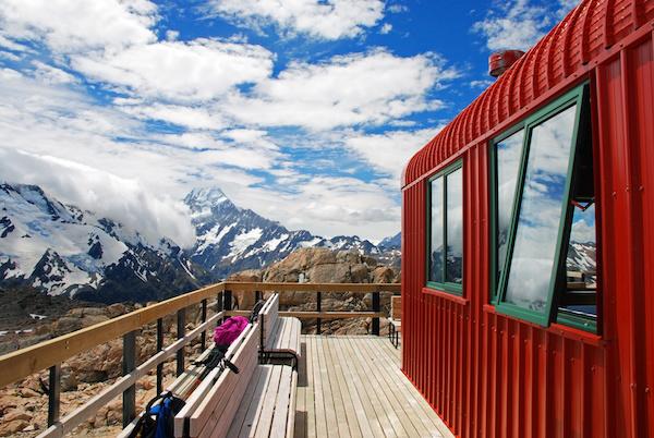 kabina s výhledem na Novém Zélandu